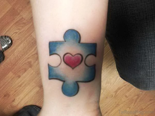 Autism With Heart Tattoo On Wrist
