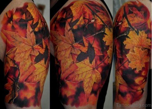 Autumn Leaves Tattoo On Arm