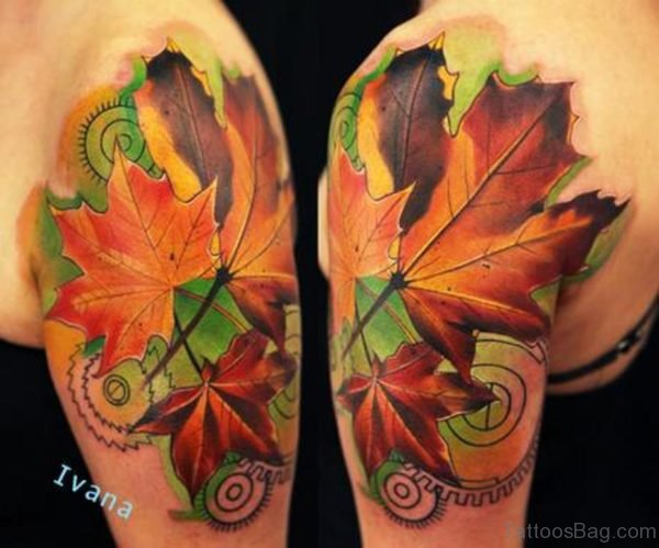 Autumn Leaves Tattoo On Shoulder