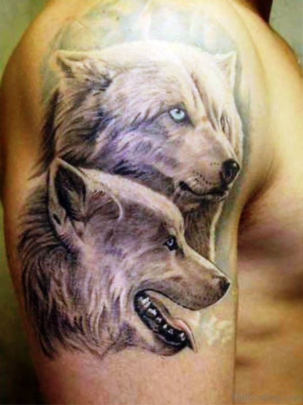 Awesome 2 Alpha Wolf Tattoo Design