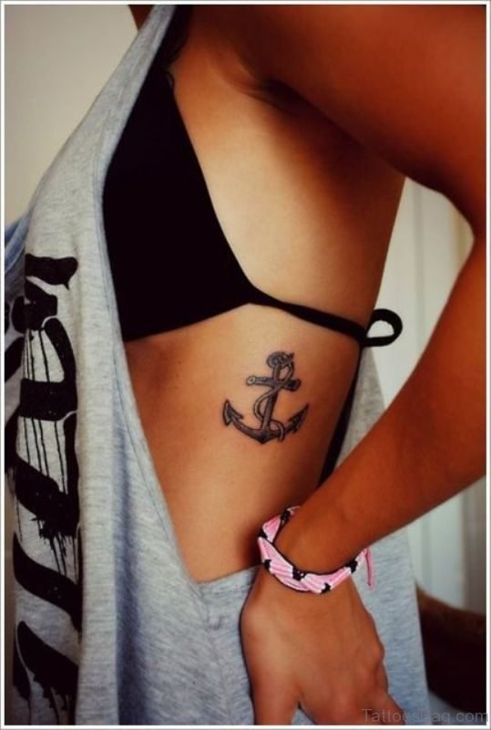 Awesome Anchor Tattoo On Rib