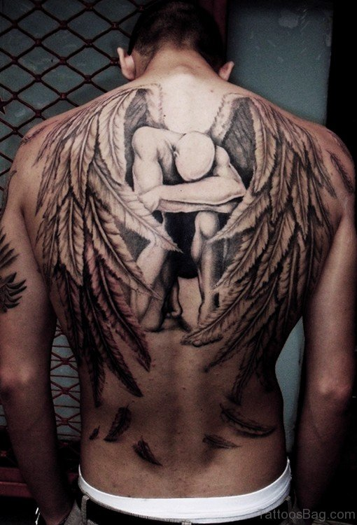 Awesome Angle Wings Tattoo On Back Body