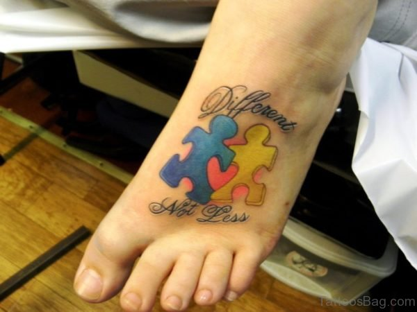 Awesome Autism Tattoo On Foot
