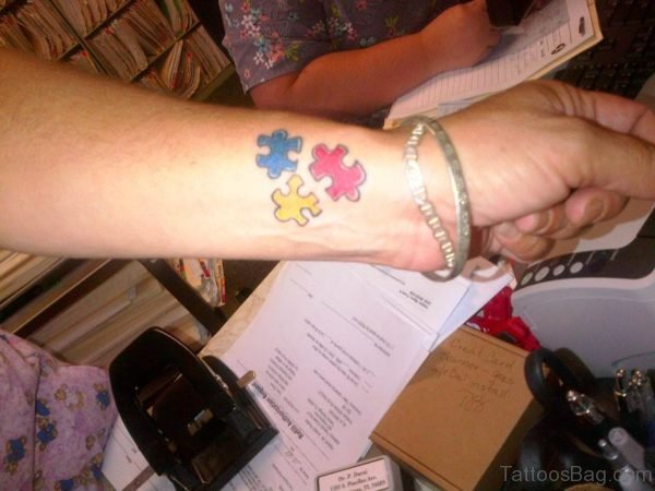 Awesome Autism Tattoo On Wrist
