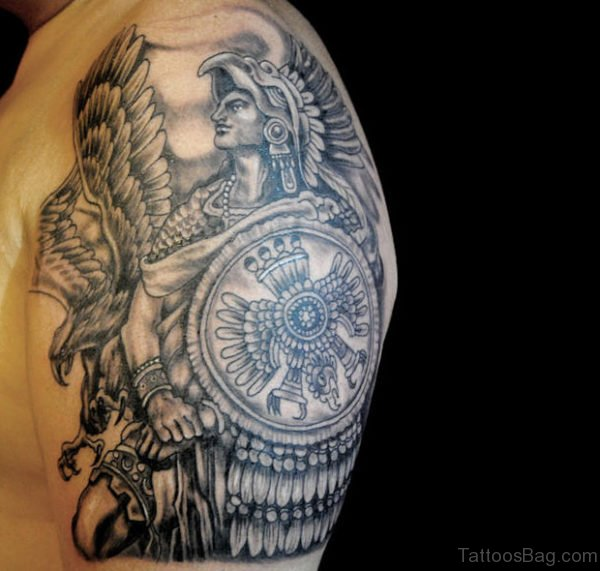 Awesome Aztec Tattoo On Shoulder