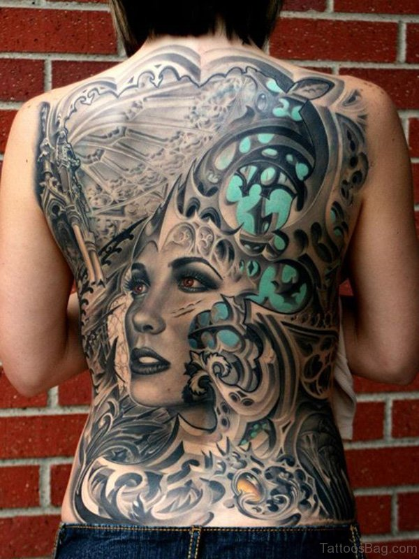 Awesome Back Body Tattoo Design