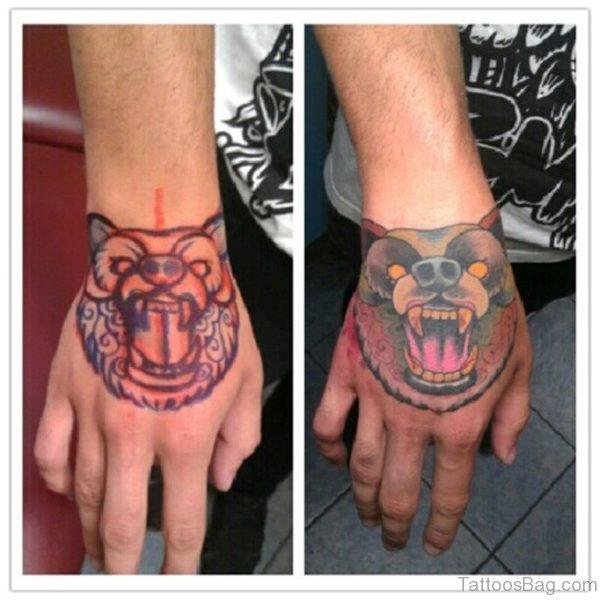 Awesome Bear Tattoo On Hand