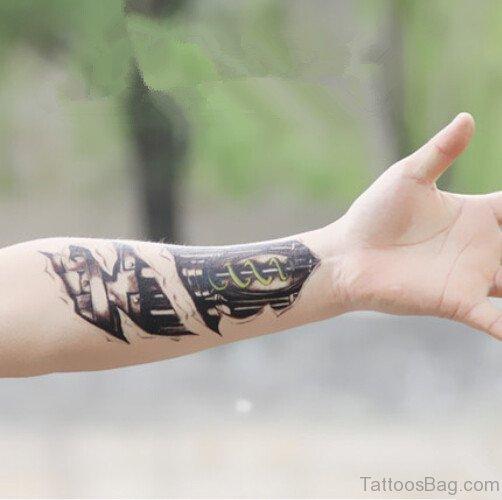 Awesome Biomechanical Tattoo On Wrist