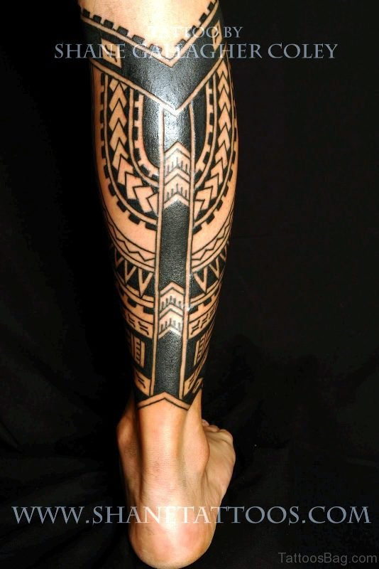 Awesome Black Polynesian Tattoo On Calf