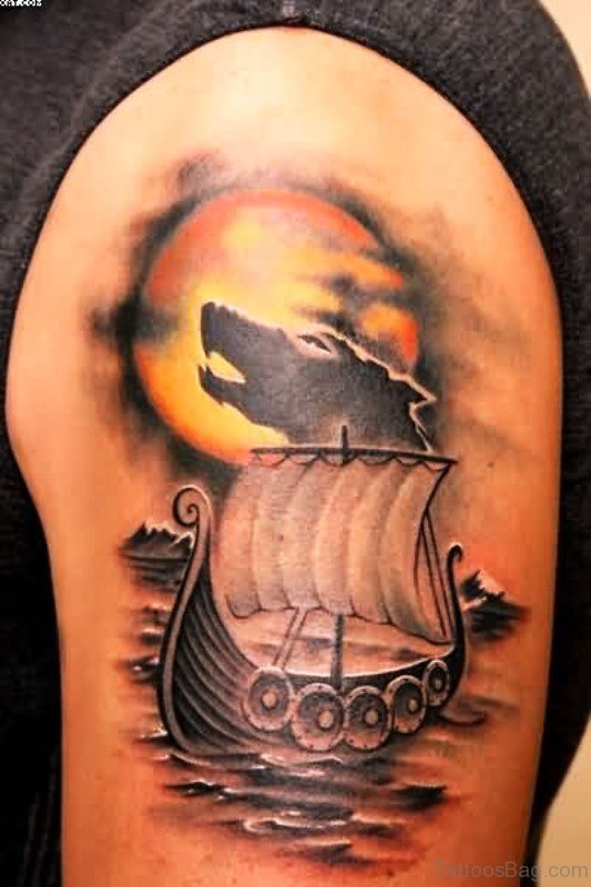 Awesome Boat With Wolf Tattoo Design