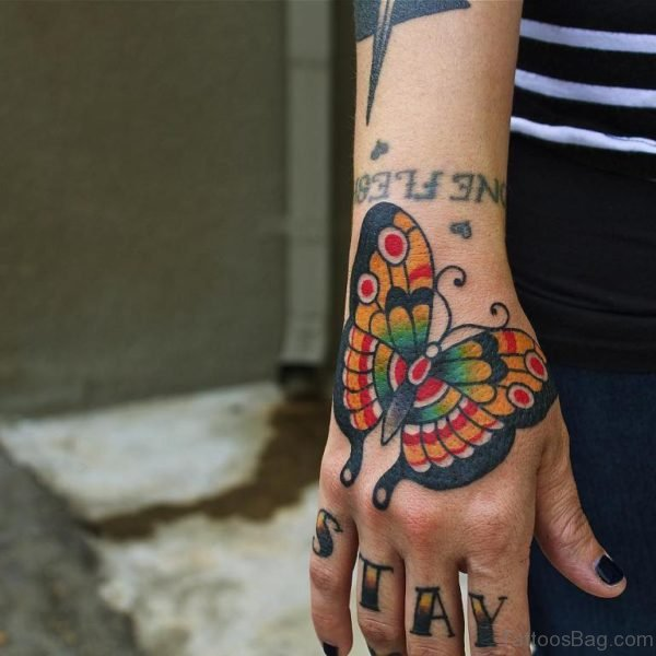 Awesome Butterfly Hand Tattoo