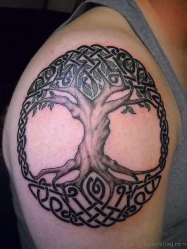 Awesome Celtic Pagan Tree Tattoo On Right Shoulder