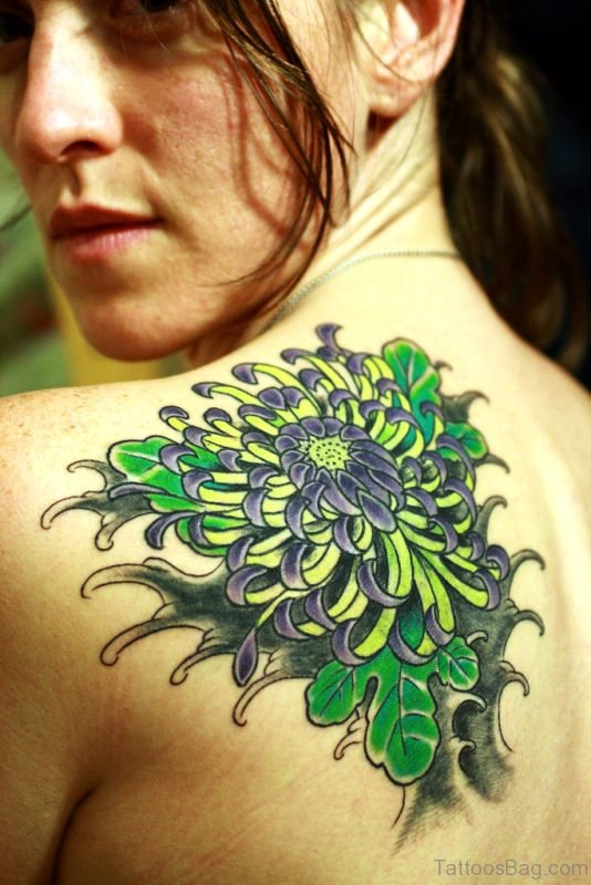 Awesome Colorful Flower Tattoo