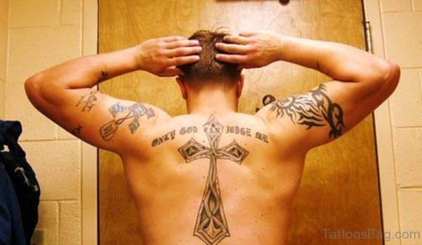 Awesome Cross Tattoo On Back 1