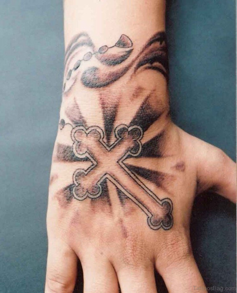 30 superb cross tattoos on hand