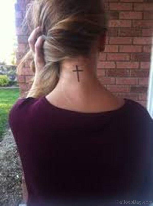 Awesome Cross Tattoo On Nape
