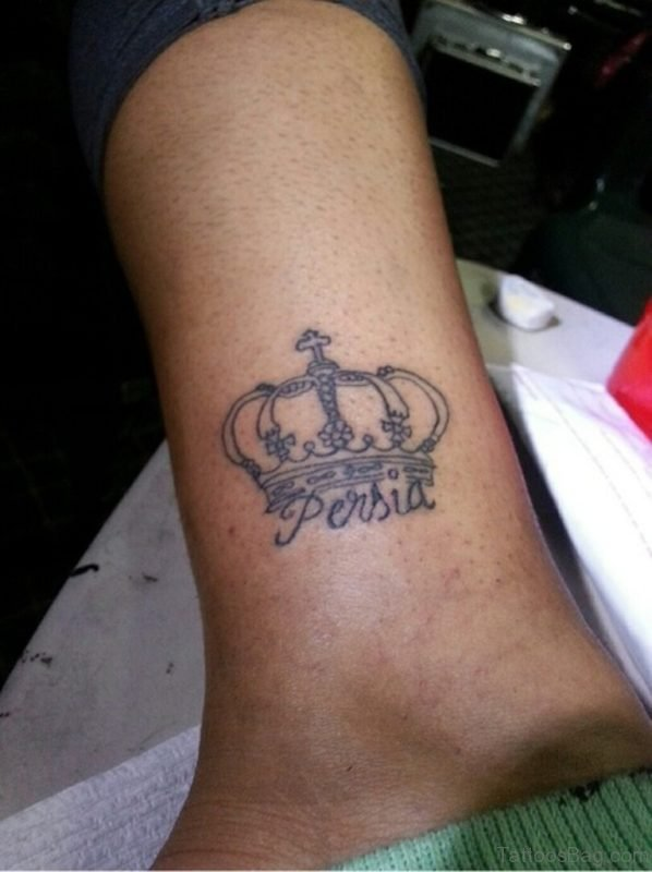 Awesome Crown Tattoo On Ankle