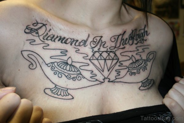 Awesome Diamond Chest Tattoo