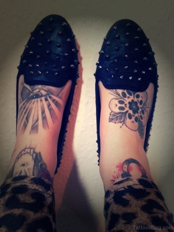 Awesome Eye Tattoo On Foot