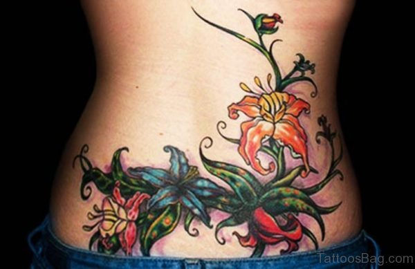 Awesome Flower Tattoo On Lower Back