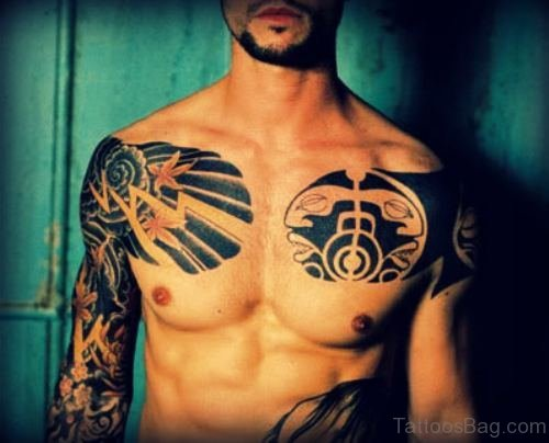 Awesome Front Chest Tattoo