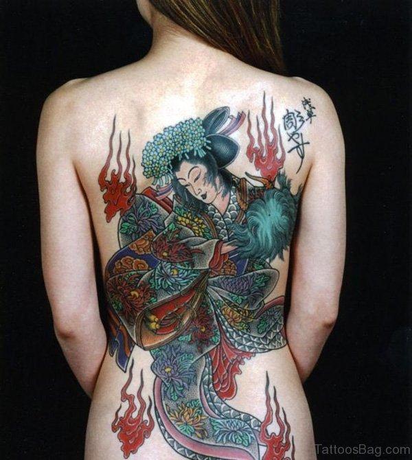 Awesome Geisha Girl Tattoo On Back