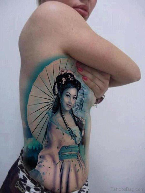 Awesome Geisha Tattoo Design On Rib