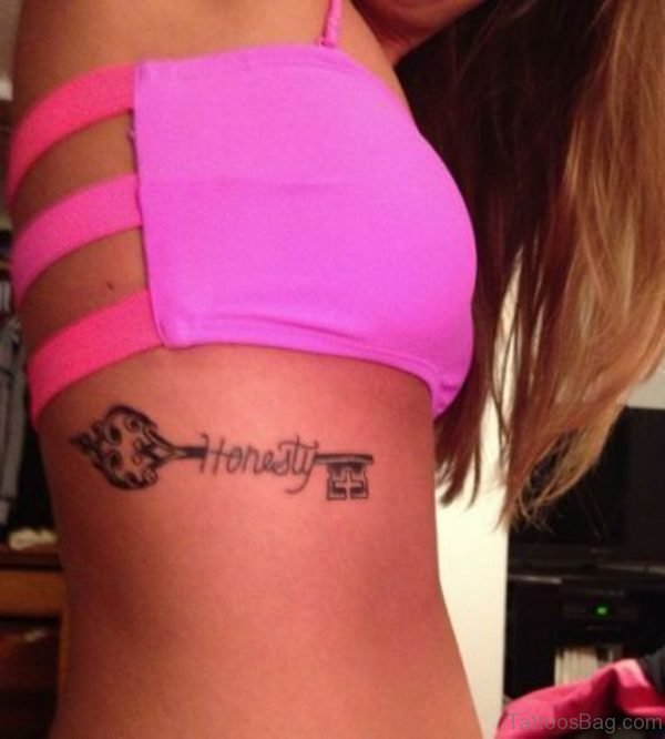 Awesome Key Tattoo On Rib