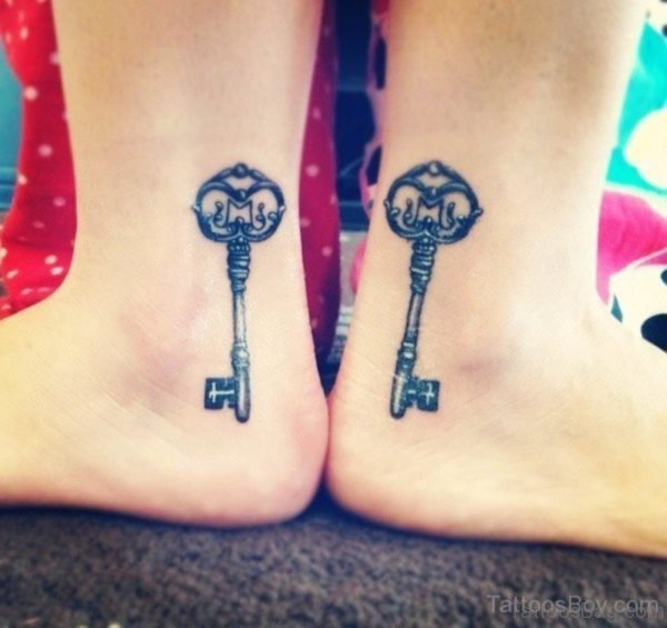 Awesome Key Tattoo On Ankle