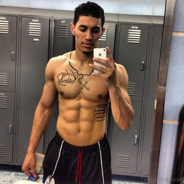 Awesome Latino Rosary Tattoo On Chest