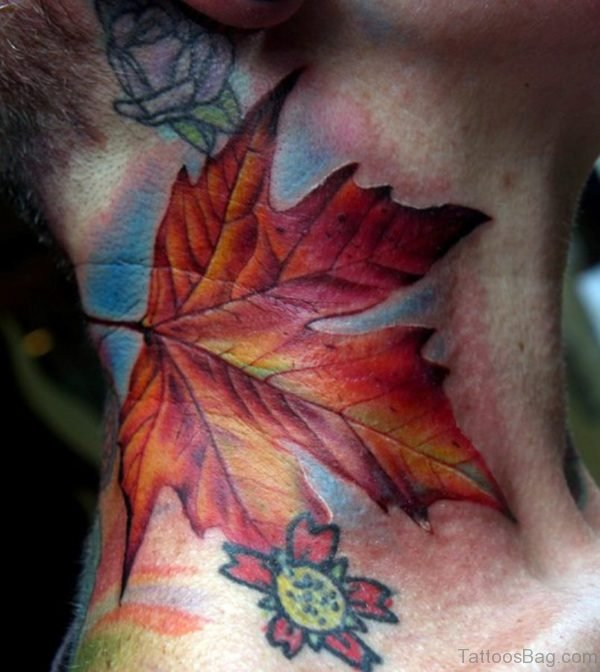 Leaf Tattoo On Neck
