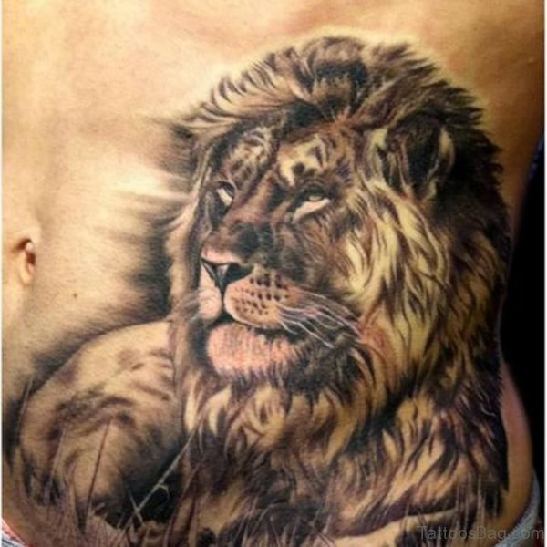 Awesome Lion Tattoo On Stomach
