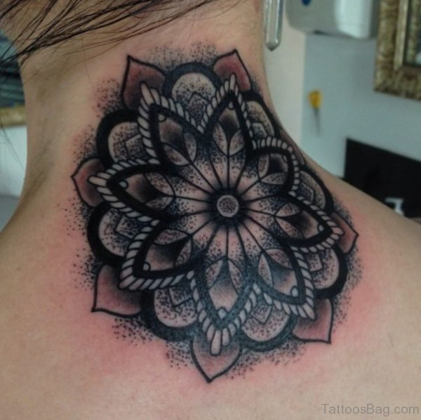 Awesome Mandala Back Neck Tattoo