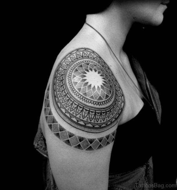 Awesome Mandala Tattoo On Shoulder
