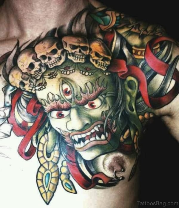 Awesome Mask Tattoo On Chest