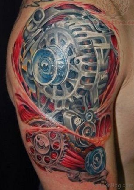 Awesome Mechanical Tattoo On Half Sleeve