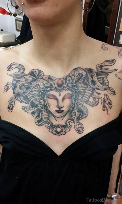 Awesome Medusa Tattoo On Chest