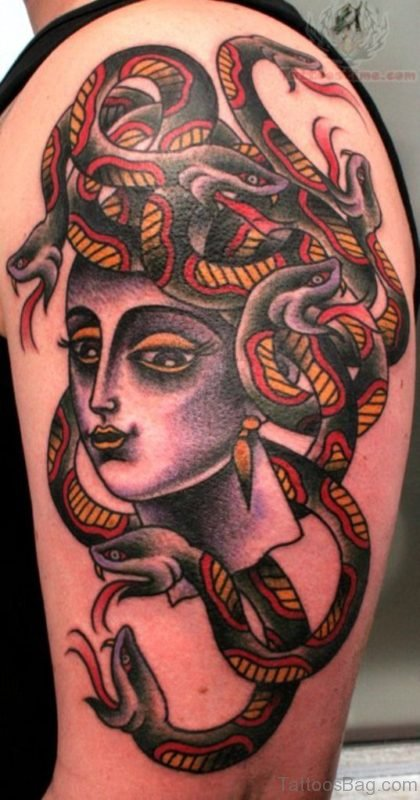 Awesome Medusa Tattoo On Half Sleeve