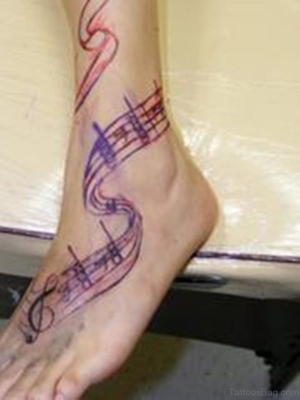 Awesome Music Note Tattoo On Ankle