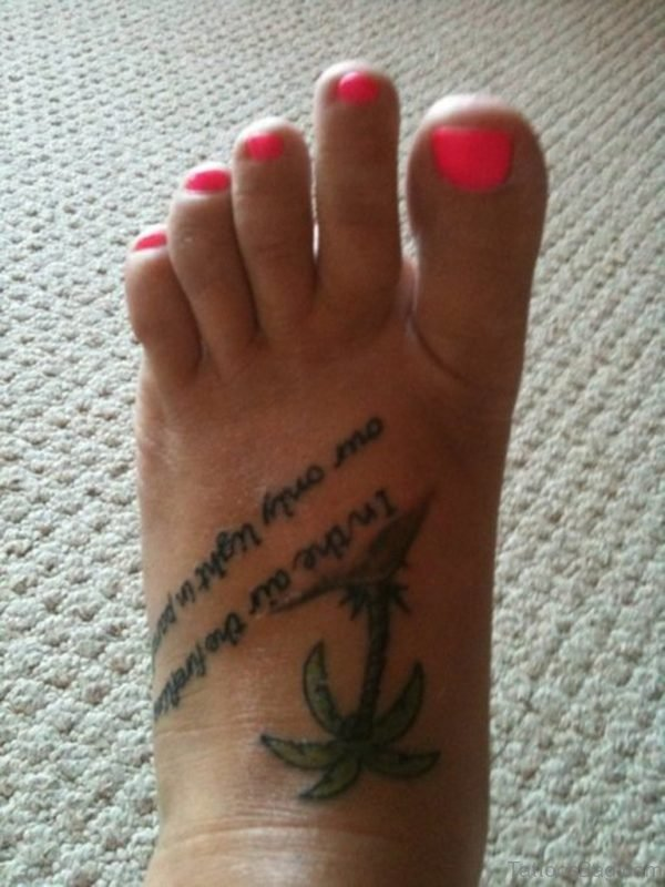 Awesome Palm Tree Tattoo On Left Foot