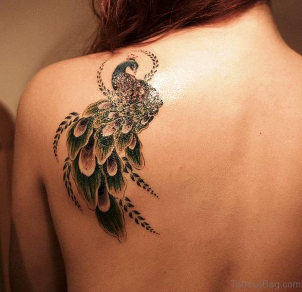 Peacock Tattoo On Back