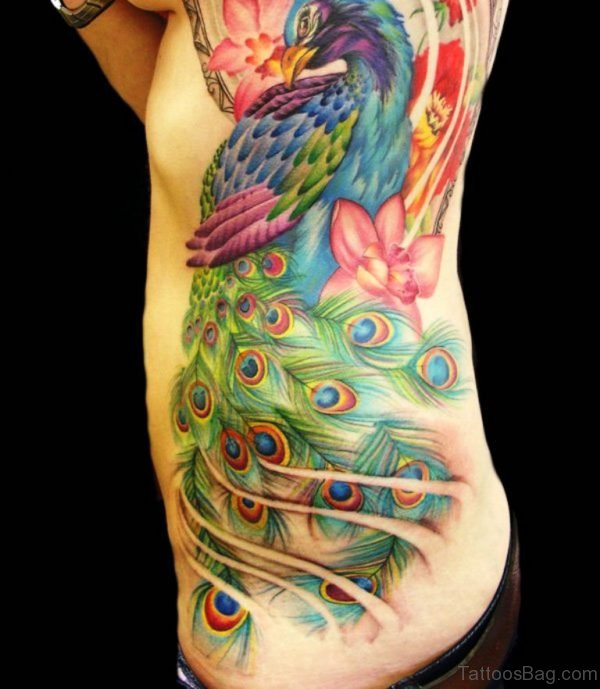 Awesome Peacock Tattoo On Rib