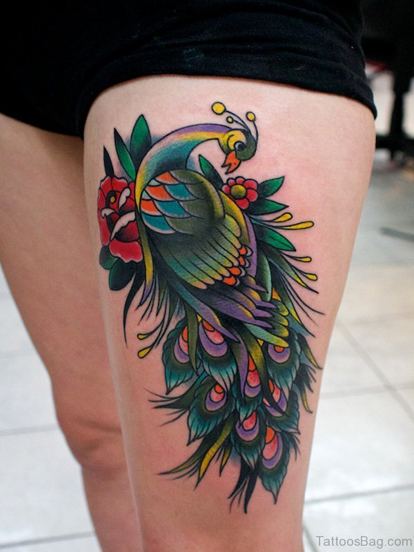 Awesome Peacock Tattoo On Thigh