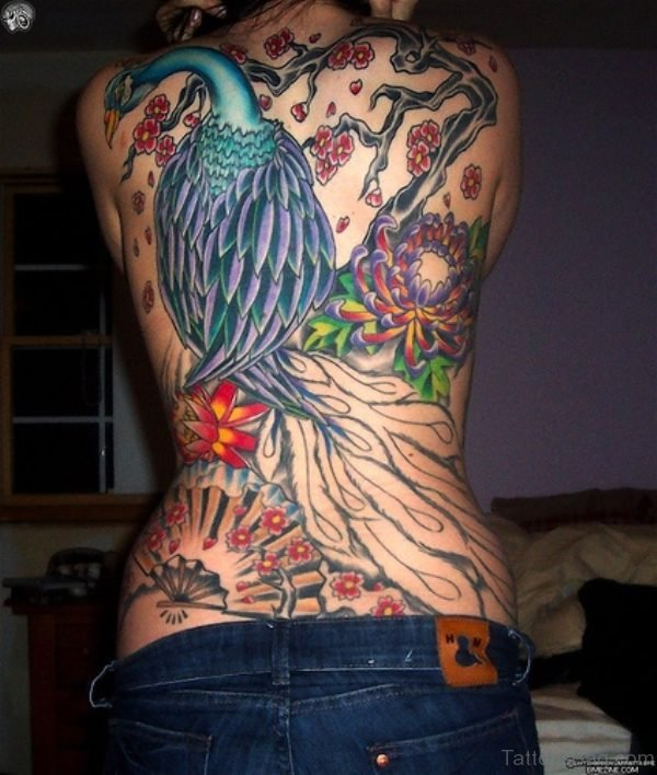 Awesome Peacock Tattoo on Back