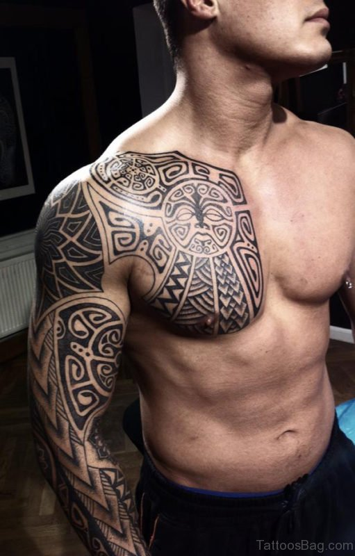 Awesome Polynesian Chest Tattoo