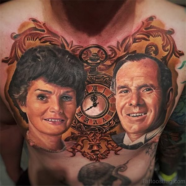 Awesome Portrait Tattoo On Chest