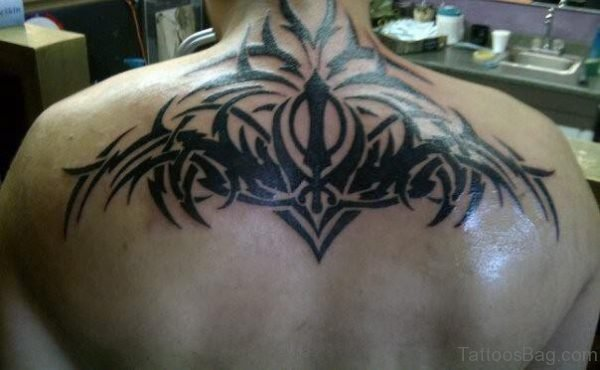 Awesome Punjabi Tattoo On Upper Back