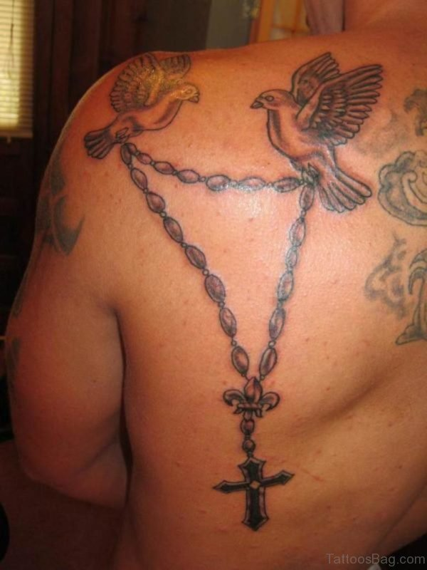 Awesome Rosary And Dove Tattoo
