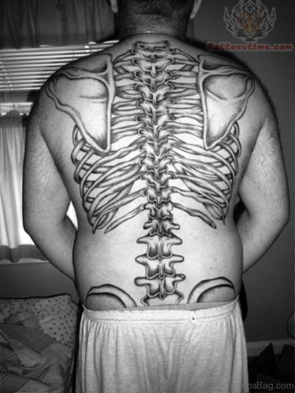 Awesome Skeleton Tattoo On Back