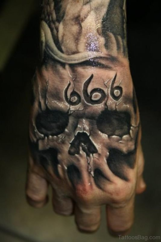 Awesome Skull Tattoo An Hand